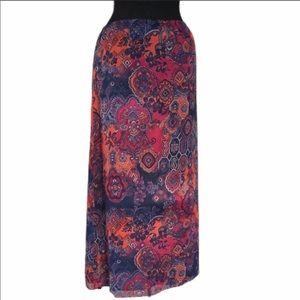 Jones New York Long Patterned Print Maxi Skirt